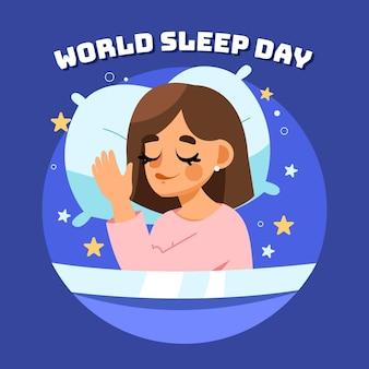Schlafender weltschlaftag der frau