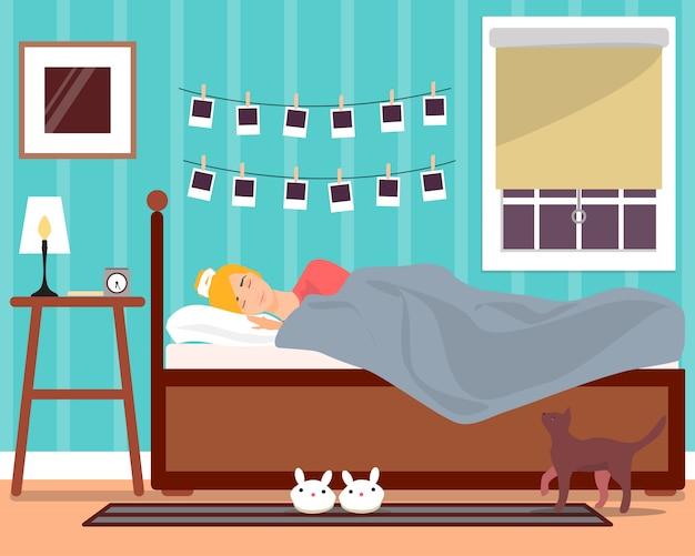 Schlafendes junges mädchen