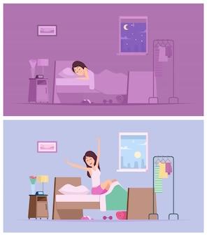 Schlafendes mädchen. wachen sie freudige frau morgen auf, die in bettkarikaturillustrationen streckt