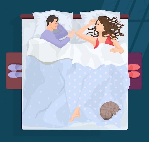 Schlafendes paar in schlechtem zustand