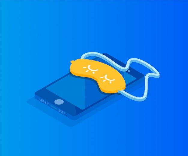 Schlafendes smartphone und maske für den schlaf