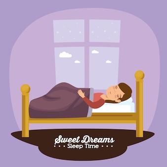 Schlafenszeitikone der süßen träume