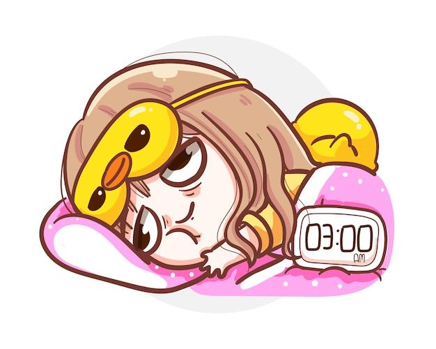 Schlaflose frau, die auf dem bett aufgrund von stress und angst liegt, die mit schlaflosigkeitskonzept isoliert werden.