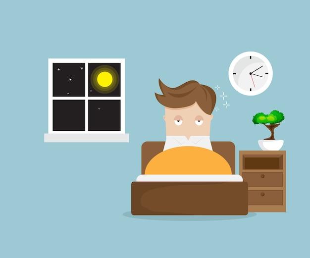 Schlaflose mannzeichentrickfilm-figur auf bett in der nacht
