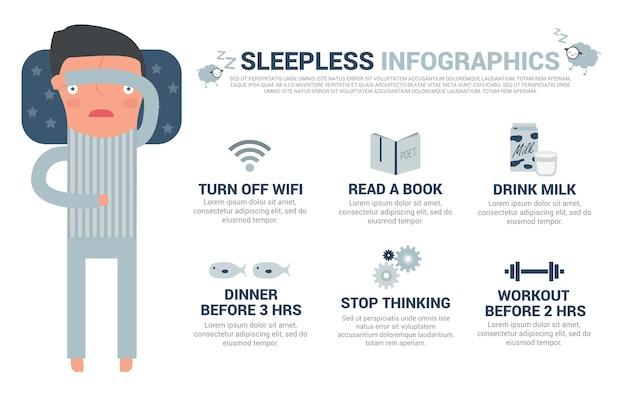 Schlafloser mann infografiken