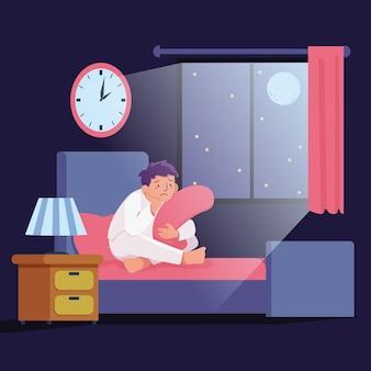 Schlaflosigkeit illustrationskonzept