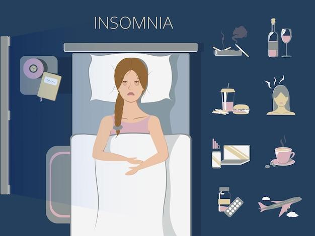 Schlaflosigkeit konzept set illustration Premium Vektoren