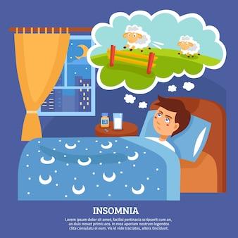 Schlaflosigkeit-leute-problem-flaches plakat