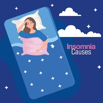 Schlaflosigkeit verursacht frau auf bett mit kissen und wolken design, schlaf und nacht thema