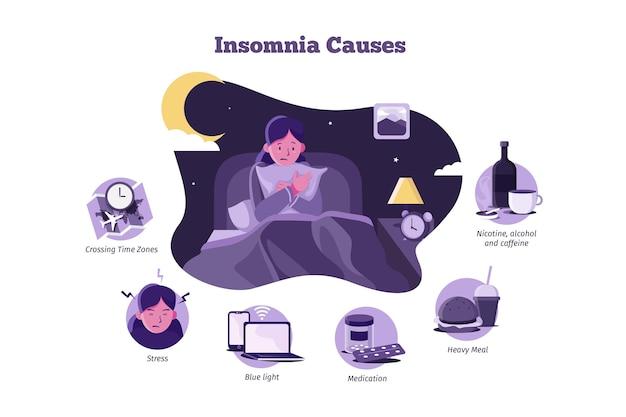 Schlaflosigkeit verursacht frau, die kissen hält