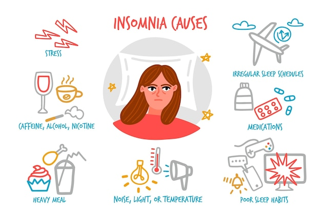 Schlaflosigkeit verursacht handgezeichnetes design