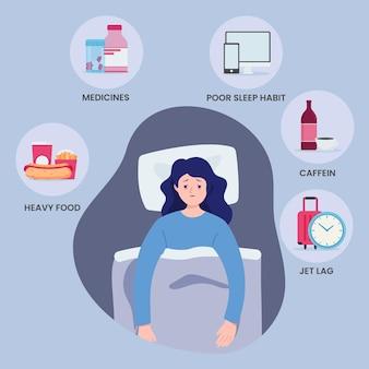 Schlaflosigkeit verursacht illustrationskonzept