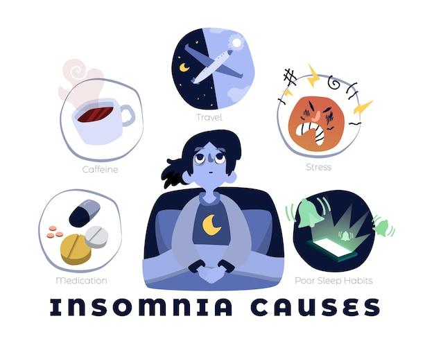 Schlaflosigkeit verursacht illustriertes design