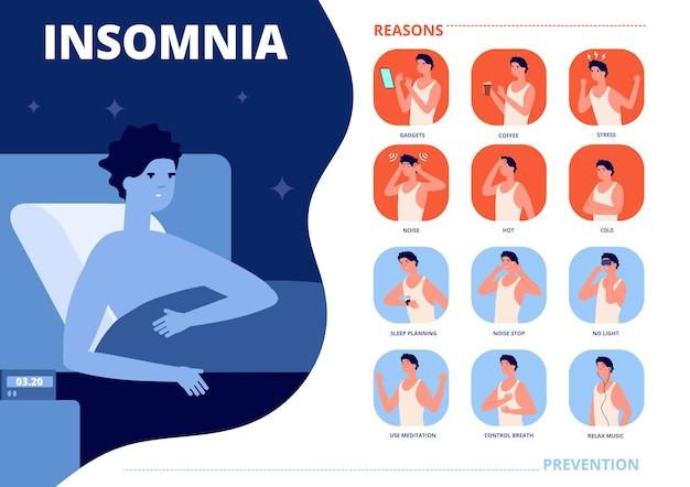 Schlaflosigkeit verursacht. schlafprobleme, angst, albtraumgründe und prävention. stressiger mann im bett, nachtträume steuern vektorgrafik. schlaflosigkeit schlafproblem, gesundheitstraum schlafzimmer
