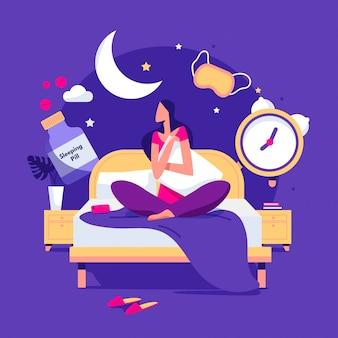 Schlaflosigkeitskonzept des flachen entwurfs mit frau