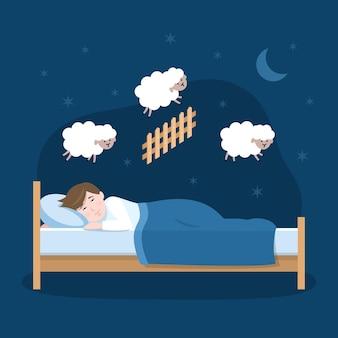 Schlaflosigkeitskonzept mit mann