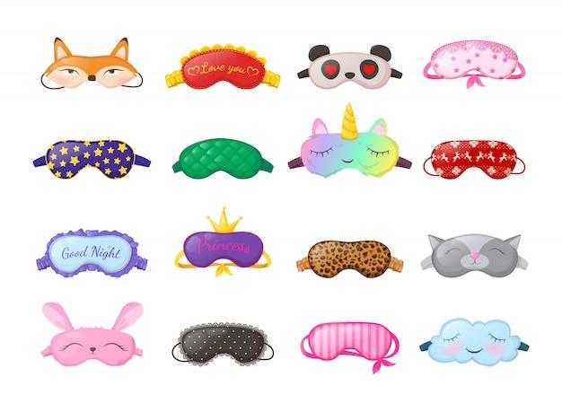 Schlafmasken in verschiedenen formen. augenschutzzubehör und prävention von gesundem schlaf.