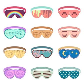 Schlafmaskenvektorsatz. schutzmaske, entspannungsschlaf, zusatzmaske zum entspannen, weiche maskenaugenillustration