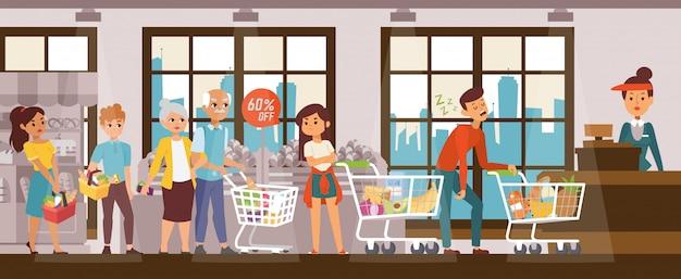 Schlafprobleme, erschöpfter mann im supermarkt halten schlange, illustration. verärgerte kunden stehen hinter dem schlafenden charakter