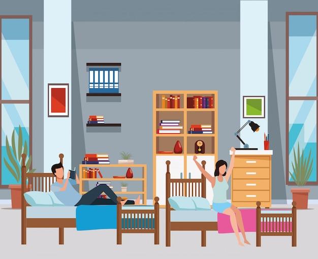 Schlafsaal mit zwei einzelbetten und gesichtslose menschen