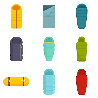Schlafsack-icons gesetzt. flacher satz schlafsackvektorikonen lokalisiert auf weißem hintergrund