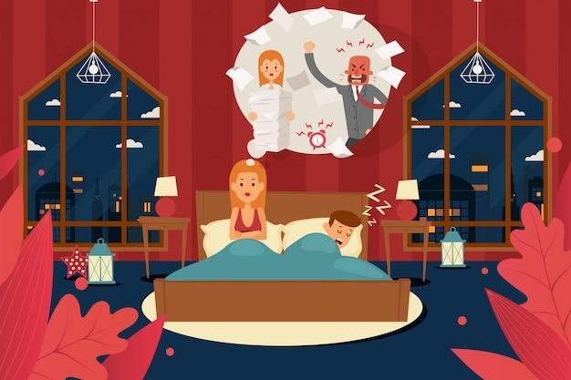 Schlafstörungen durch arbeitsstress, wütender chef. angespannte, verärgerte frau im schlafzimmer, ehemann schlief im bett ein. mädchencharakter bleiben wach