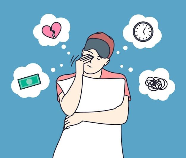 Schlafstörungen und schlaflosigkeit. junge frau leidet an schlaflosigkeit aufgrund von psychischen problemen, schlaflosigkeitsvorstellungen.