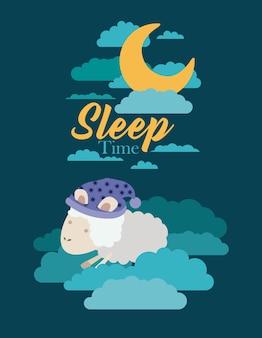 Schlafzeit mit schafen in den wolken