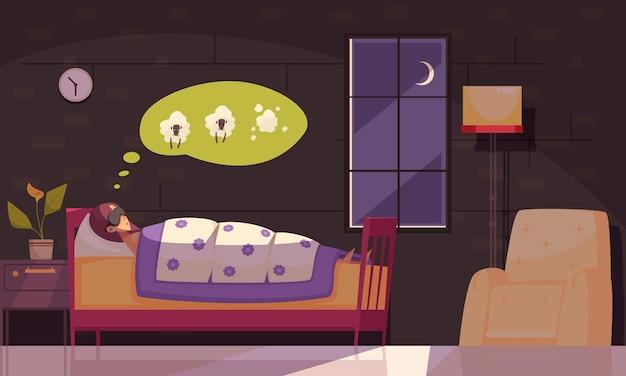 Schlafzeit mit schlaflosigkeitsproblemsymbolen flach