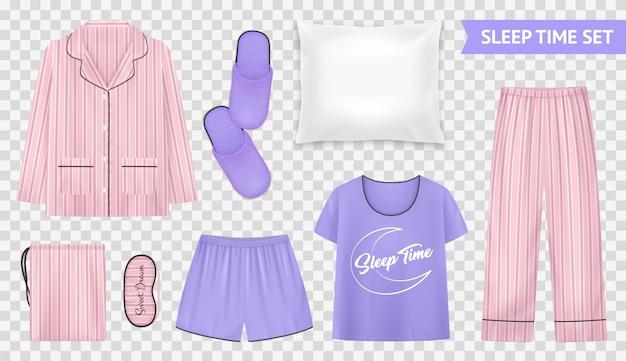 Schlafzeit transparentes set mit hellen und warmen pyjama-stilen und zubehör für eine bequeme schlafillustration