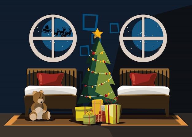 Schlafzimmer am weihnachtstag
