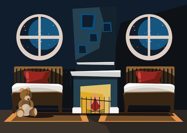 Schlafzimmer innen vektor-illustration