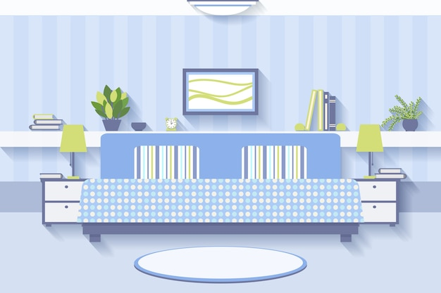 Schlafzimmer innenarchitektur. wohnung und innen komfortabel, luxus und lampe.