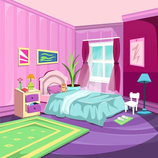Schlafzimmer innenraum mit großem fenster und rosafarbenem vorhang