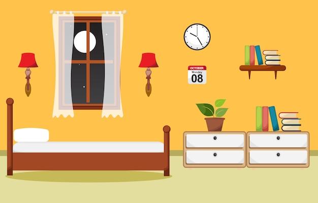Schlafzimmer-innenschlafzimmer-flache design-illustration