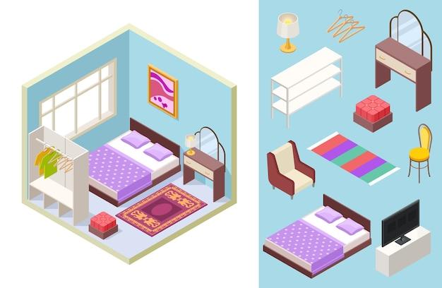 Schlafzimmer isometrisch