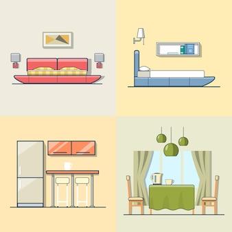 Schlafzimmer küche wohnzimmer esszimmer innen innen set. flache stilikonen mit linearen mehrfarbigen strichen. farbsammlung.