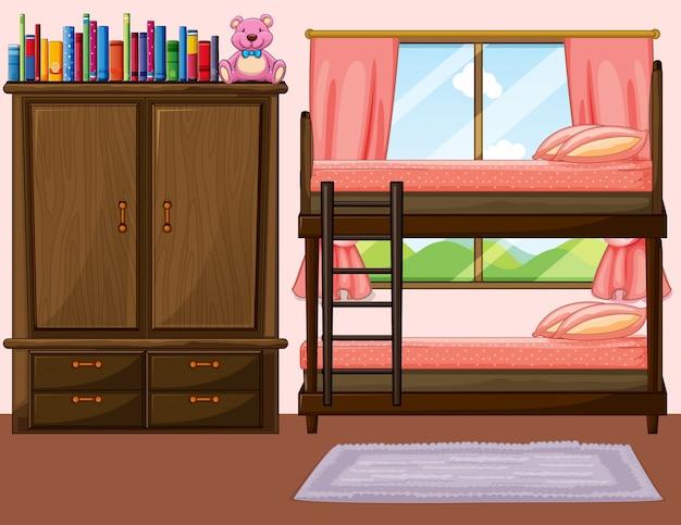 Schlafzimmer mit etagenbett und schrank