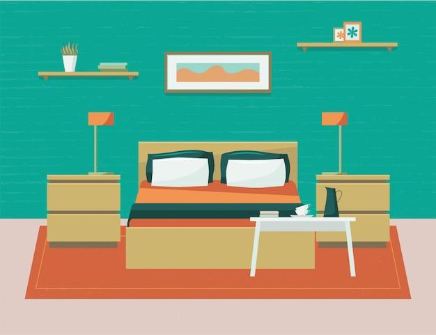 Schlafzimmer mit möbeln. flache karikaturartillustration.