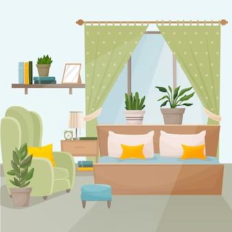 Schlafzimmer mit möbeln und einem fenster. schlafzimmer interieur. bett, nachttisch, sessel, pflanzen, bücher.