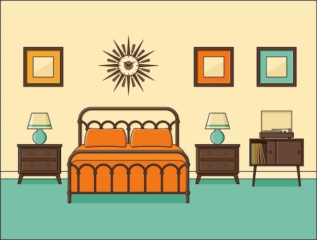 Schlafzimmer retro interieur. hotelzimmer in flachem design. illustration.