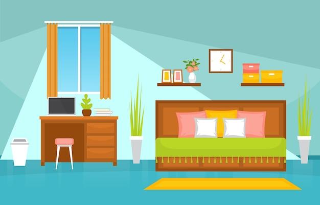 Schlafzimmer schlafzimmer bett innenarchitektur modernes haus illustration