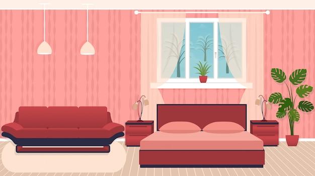 Schlafzimmerinnenraum der hellen farben mit möbeln und winterlandschaft außerhalb des fensters.