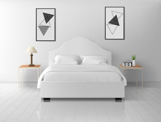 Schlafzimmerinnenraum, haus oder leere wohnung des hotels