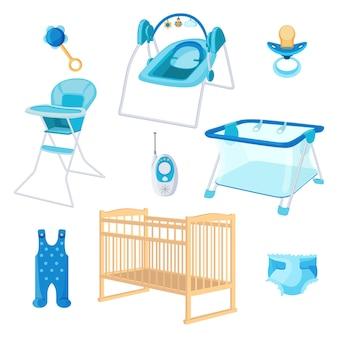 Schlafzimmermöbel für neugeborene Premium Vektoren