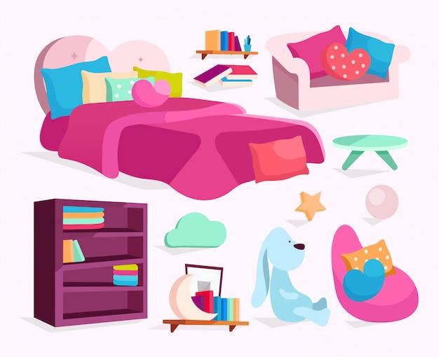 Schlafzimmermöbel illustrationen gesetzt. mädchenhaftes bett, sofa, sessel mit kissenaufklebern, cliparts-pack.