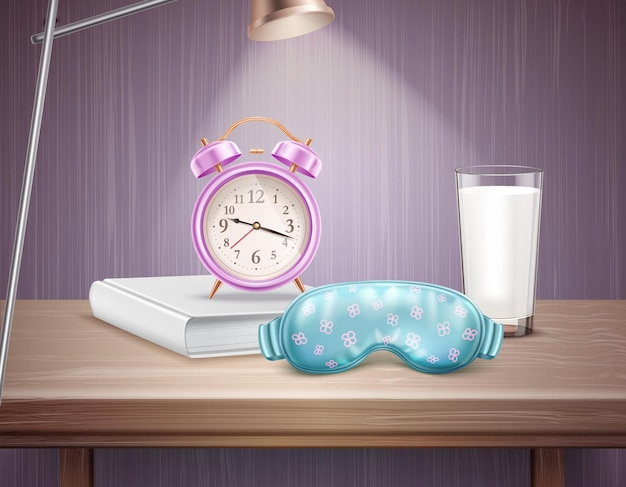 Schlafzubehör wecker buch und glas milch auf nachttisch realistische zusammensetzung