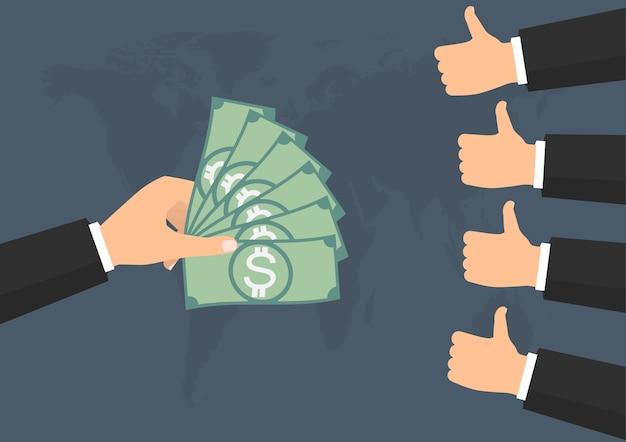 Schlag auf wie die stimme für die bezahlung von banknotengeld
