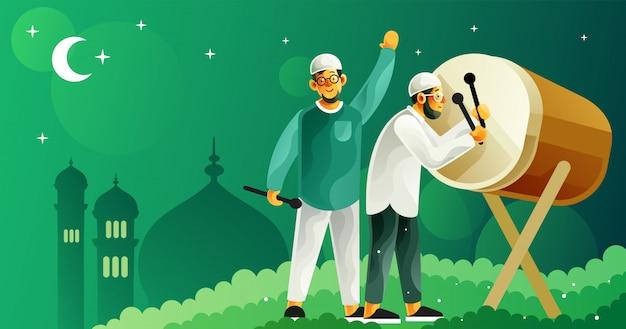 Schlagen sie bettwanze, um ramadan und eid fitr zu feiern