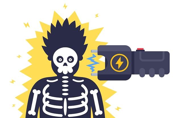Schlagen sie eine person mit einem elektroschocker. flache illustration lokalisiert auf weiß.